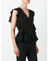 Alexander McQueen - Black Ruffled Top - Lyst