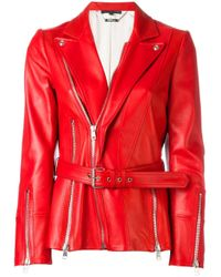 Alexander McQueen | Red Zip Detailed Biker Jacket | Lyst