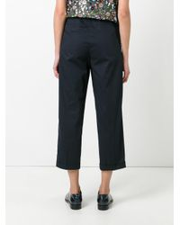 ODEEH - Blue Tailored Cropped Pants - Lyst