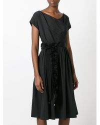 Blumarine   Black Ruffled Belted Flared Dress   Lyst