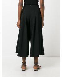 Blumarine - Black Pleated Wide-legged Cropped Trousers - Lyst