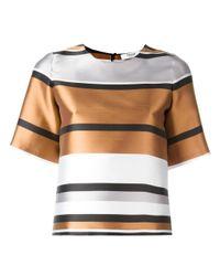 Blugirl Blumarine | Brown Metallic Boxy T-shirt | Lyst
