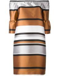 Blugirl Blumarine   Brown Ruffled Sleeve Metallic Dress   Lyst