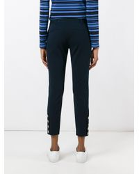 MICHAEL Michael Kors   Blue Gold Buttons Cropped Trousers   Lyst