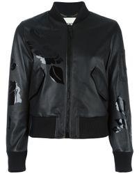 Fendi - Black Floral Print Bomber Jacket - Lyst