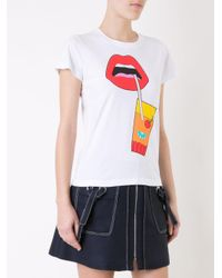 Yazbukey - White Glass Lips Print T-shirt - Lyst