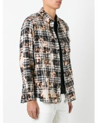 Saint Laurent | Black Bleached-effect Checked Shirt for Men | Lyst