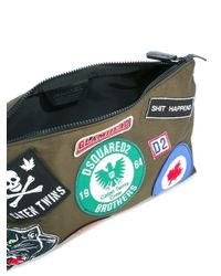 DSquared² - Green Logo Patch Clutch Bag for Men - Lyst