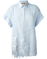 N°21 | Blue Embroidered Detail Polo Shirt | Lyst
