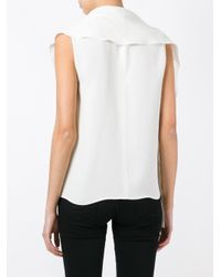 Max Mara - White Draped Sleeveless Blouse - Lyst