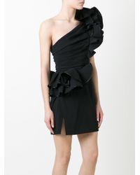 DSquared²   Black One Shoulder Rose Dress   Lyst