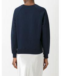 MSGM - Blue Logo Print Sweatshirt - Lyst