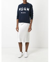 MSGM | Blue Logo Print Sweatshirt | Lyst