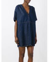 MM6 by Maison Martin Margiela   Blue V-neck Denim Dress   Lyst