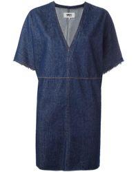 MM6 by Maison Martin Margiela | Blue V-neck Denim Dress | Lyst