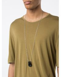 Ma+ - Metallic Pleated Pendant Long Necklace for Men - Lyst