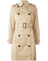 MICHAEL Michael Kors | Natural - Double Breasted Trench Coat - Women - Cotton/polyester/spandex/elastane - Xs | Lyst