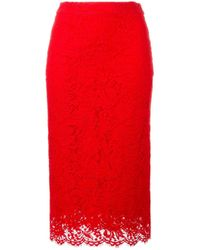 Ermanno Scervino | Red Lace Pencil Skirt | Lyst