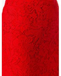 Ermanno Scervino - Red Lace Pencil Skirt - Lyst