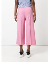MSGM - Pink Wide Leg Cropped Trousers - Lyst