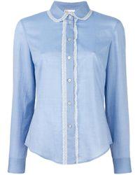 RED Valentino | Blue - Lace Trim Shirt - Women - Cotton - 42 | Lyst