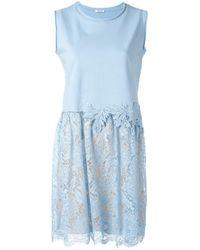 P.A.R.O.S.H. | Blue Lace Hem Dress | Lyst