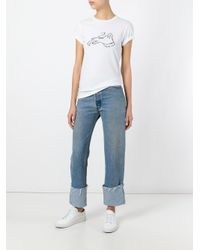 Bella Freud - White Distressed Dog T-shirt - Lyst