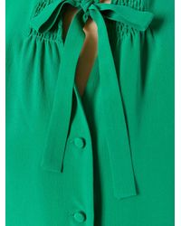 Etro - Green Tied Neck Buttoned Blouse - Lyst
