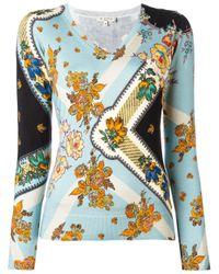 Etro | Blue Floral Print Blouse | Lyst