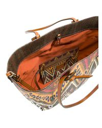 Etro - Brown Embroidered Detail Shoulder Bag - Lyst