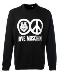 Love Moschino - Black Logo Print Sweatshirt for Men - Lyst