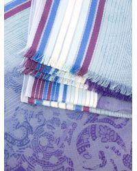 Etro | Blue Frayed Trim Striped Scarf | Lyst