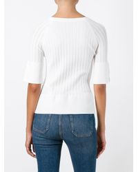 Twin Set - White Three-quarters Sleeve Fitted Blouse - Lyst