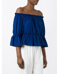 Dondup - Blue - Off-shoulders Ruffled Blouse - Women - Cotton/spandex/elastane - 42 - Lyst
