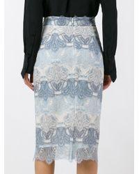 Ermanno Scervino - Blue Lace Pencil Skirt - Lyst