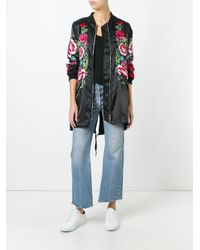 P.A.R.O.S.H. - Black - Floral Embroidered Long Bomber Jacket - Women - Polyester - L - Lyst