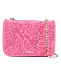 Love Moschino | Pink Logo Embossed Shoulder Bag | Lyst