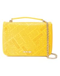 Love Moschino | Yellow Logo Embossed Shoulder Bag | Lyst