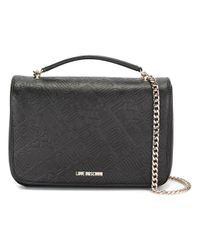Love Moschino | Black Logo Embossed Shoulder Bag | Lyst