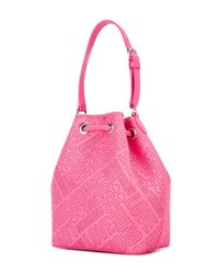 Love Moschino   Pink Logo Embossed Bucket Shoulder Bag   Lyst
