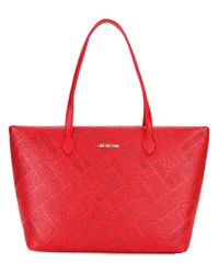 Love Moschino | Red Logo Embossed Tote | Lyst
