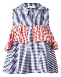 Dondup | Blue Checked Ruffled Detail Shirt | Lyst