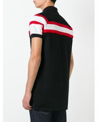 Givenchy | Black Contrast Striped Panel Polo Shirt for Men | Lyst