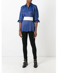 MM6 by Maison Martin Margiela | Blue Belted Shirt | Lyst
