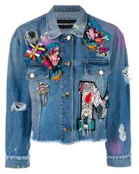 Marco Bologna | Blue Embellished Apliques Cropped Denim Jacket | Lyst