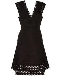 Hervé Léger | Black V-neck Flared Dress | Lyst