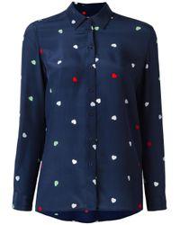 Zoe Karssen - Blue Heart Print Shirt - Lyst