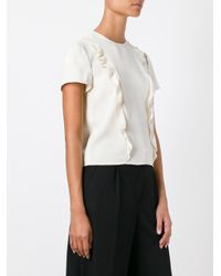 RED Valentino - White Frill Front Blouse - Lyst