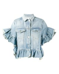MSGM | Blue Ruffle-trimmed Denim Jacket | Lyst