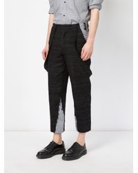 Aganovich - Black Draped Pockets Cropped Trousers for Men - Lyst